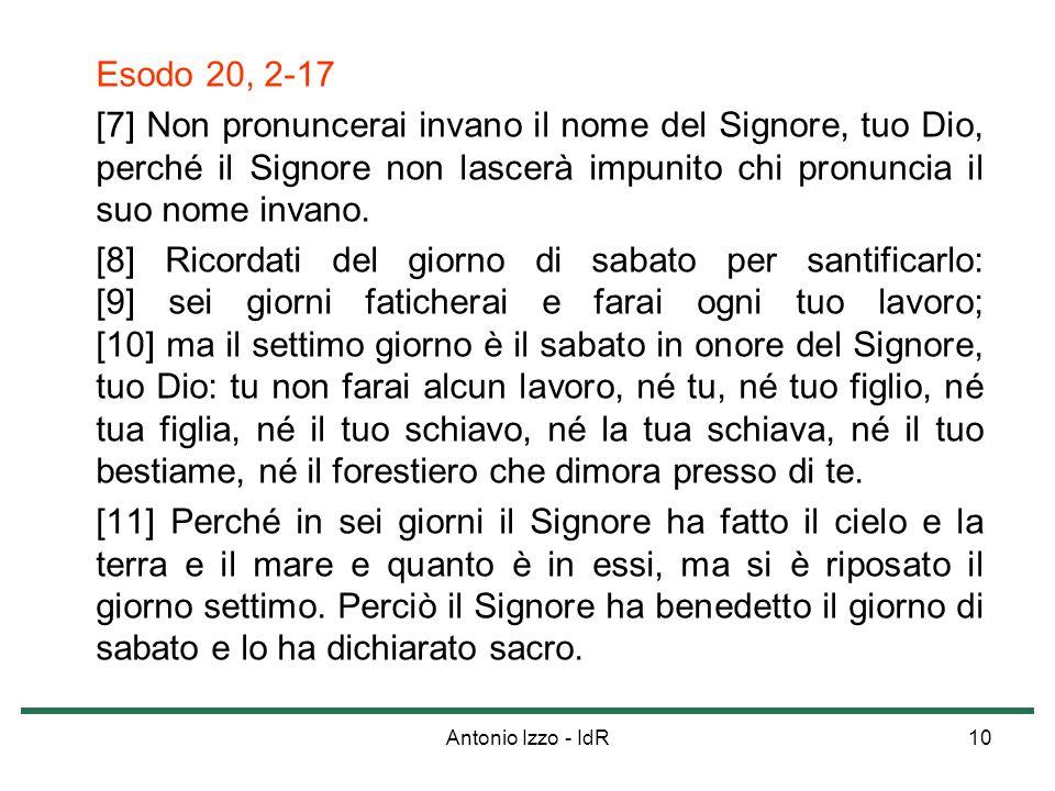 Esodo 20, 2-17 [7] Non pronuncerai invano il nome del Signore, tuo Dio, perché il Signore non lascerà impunito chi pronuncia il suo nome invano.